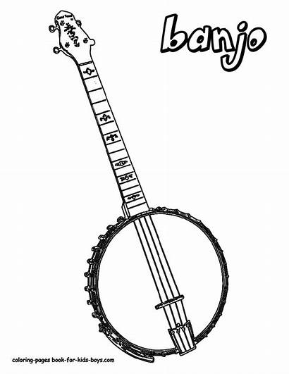 Banjo Coloring Pages Musical Instrument Instruments Boys