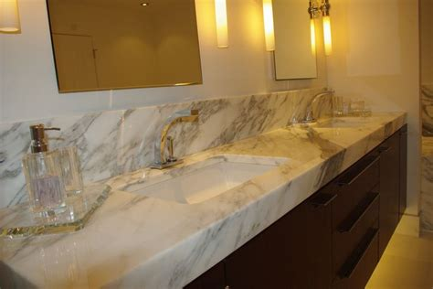 calacatta gold marble vanity top   mitered edge