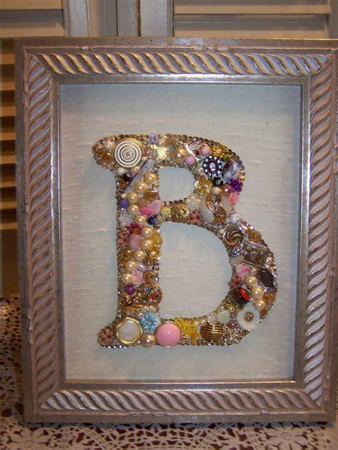 custom monogram initial jewelry art assemblage vintage jewels framed vintage jewelry