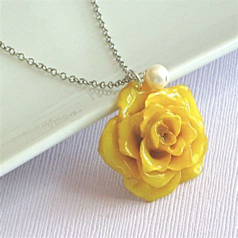 pearl and pendant necklace yellow necklace sterling silver by