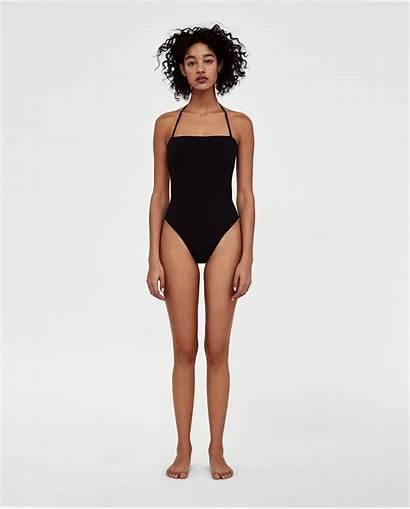 Zara Poses Bikini Models Swimsuit Swimwear Standing