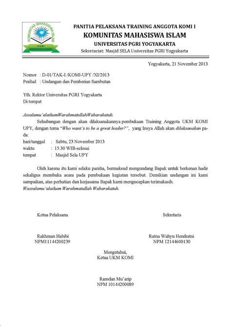 Contoh Surat Undangan Dinas by Contoh Surat Dinas Dalam Bentuk Undangan Brainly Co Id