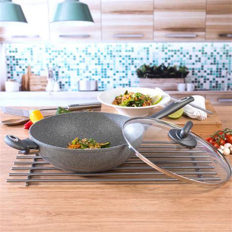 salter marble collection forged aluminium  stick wok  cm grey cookware salter