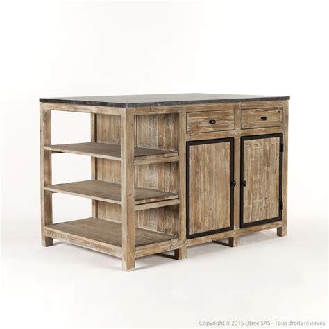 ilot bois cuisine ilot central de cuisine en bois et marbre longueur 145cm