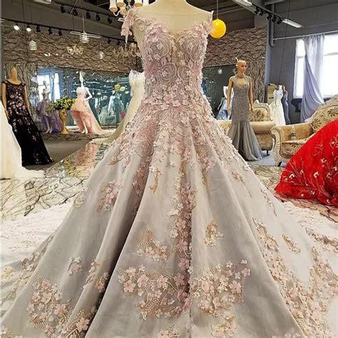 Vintage Scoop Neck Lace Flower Wedding Dresses 2018 Satin