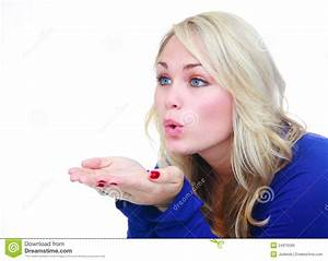 Woman Blowing Air Over Hands. Stock Photo - Image of young ...  Blowing