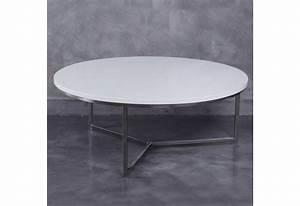 Table Basse Ronde Bois Metal : table basse ronde moderne en m tal et plateau bois laqu e blanc by ~ Teatrodelosmanantiales.com Idées de Décoration