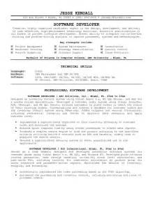 developer resume format exle software developer resume sle