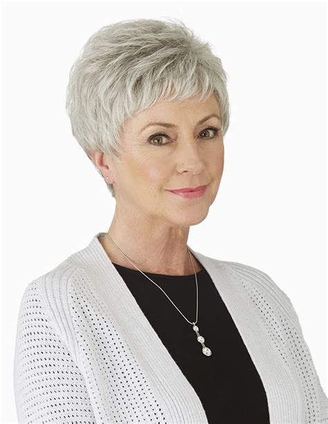 If you like to spend less than 10 minutes on hair and makeup. Cute Short Pixie Grey Hair Wig For Older Ladies - Rewigs.com