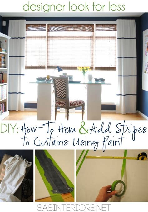 diy how to hem no sew and add stripes to curtains using