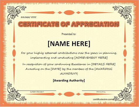 certificates  appreciation templates  word