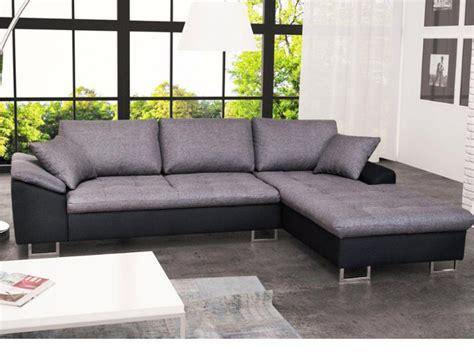 vente unique canapé d angle canapé d 39 angle en tissu et simili allegri ii gris et noir