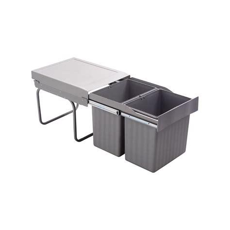 poubelle cuisine coulissante sous evier poubelle encastrable coulissante 2 bacs 32 litres