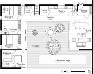 plan maison en u avec 4 chambres ooreka With plan de maison avec 4 chambres