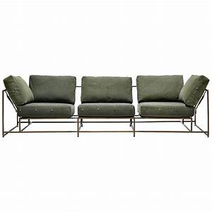 Vintage military canvas and antique brass three piece sofa for 3 piece sectional sofa sale