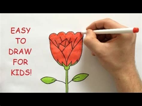 draw  rose step  step  kids youtube