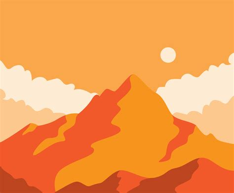 mountain landscape  orange tone vector art graphics