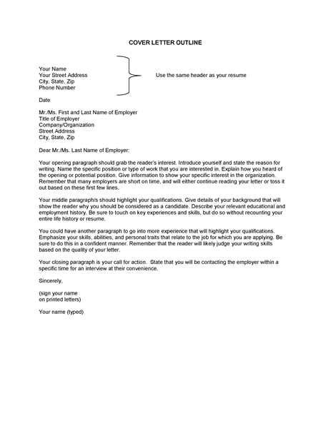 Outline For A Cover Letter by Cover Letter Outline Letters Free Sle Letters