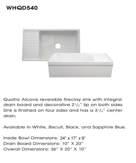 whitehaus whqd540 white white 36 quot large quatro alcove reversible fireclay farm house sink with