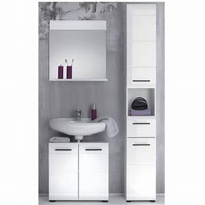Living Style Möbel : badezimmer skin badm bel set 4 mit front in wei hochglanz ~ Watch28wear.com Haus und Dekorationen