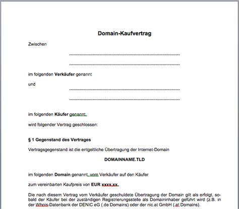 domain kaufvertrag mustervorlage gfrerercom