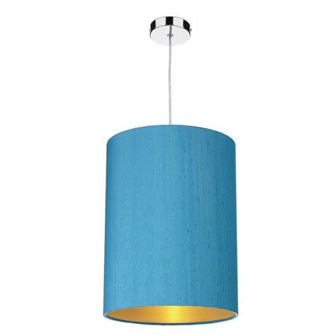 blue silk ceiling light shade lined in gold easy fit