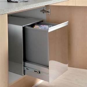 Meuble Poubelle Cuisine : poubelle 1 bac 35l coulissante meuble de 400mm accessoires ~ Dallasstarsshop.com Idées de Décoration