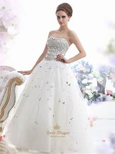 ivory strapless heavily beaded bodice tulle ball gown With beaded bodice wedding dress