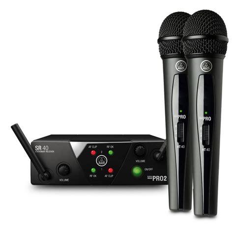 miniature wireless akg wms40 mini dual wireless vocal microphone system at