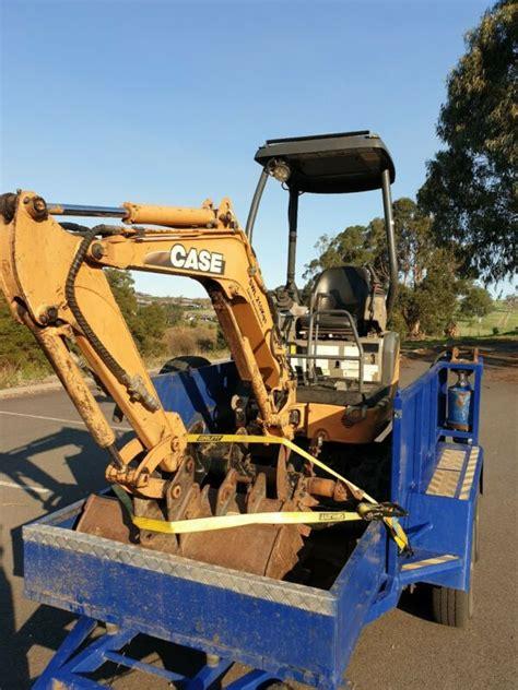 case cxb mini excavator   trailer auger drive log grab  sale  australia