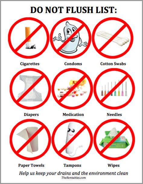 do not flush the toilet list cabin