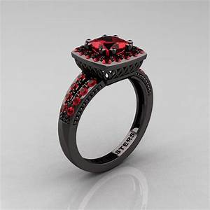 renaissance classic 14k black gold 123 ct princess ruby With ruby and black diamond wedding rings