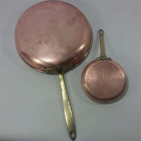 vintage copral copper brass  frying pan   portugal   copper pan brass copper