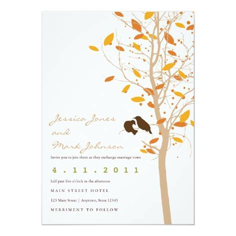 Autumn Love Birds in Tree with Fall Leaves Invitation