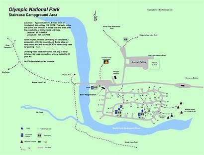 Olympic Campground Map Staircase National Park Maps