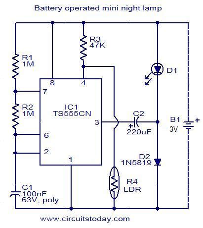 Battery Operated Mini Night Lamp Electronic Circuits