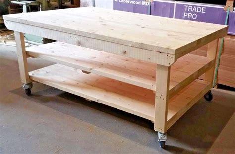 details  wooden work bench  wheels ft ft