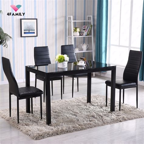 piece glass metal dining table set  chairs kitchen room