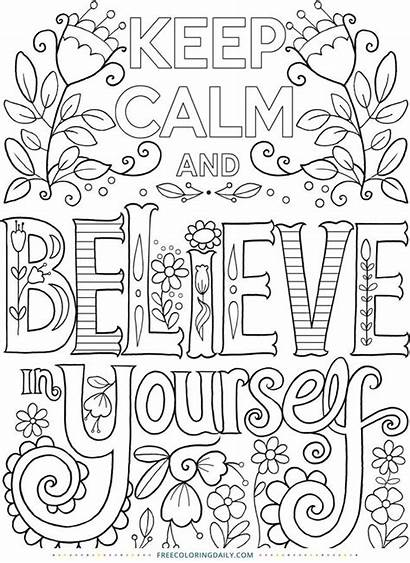 Coloring Pages Calm Keep Quote
