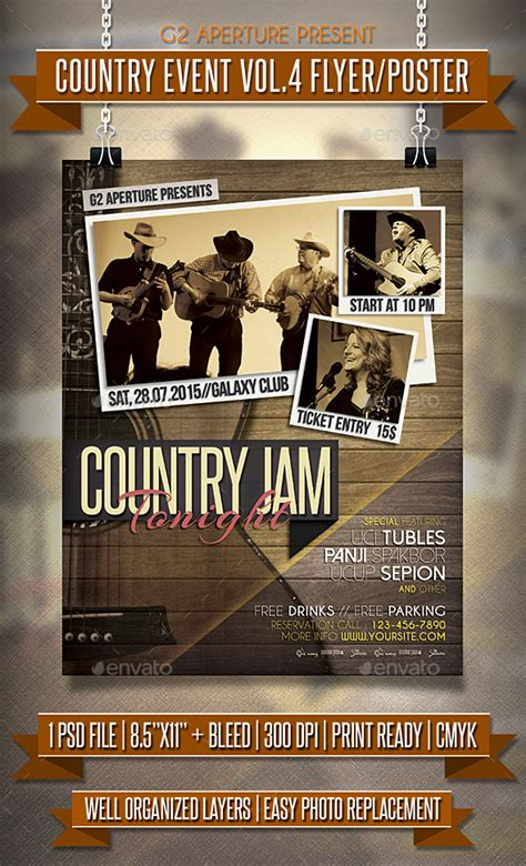 country poster template country event flyer poster vol 4 by martini50s
