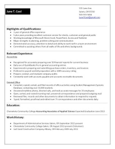 Accounting Functional Resume by Cwe Jump Start Your Career