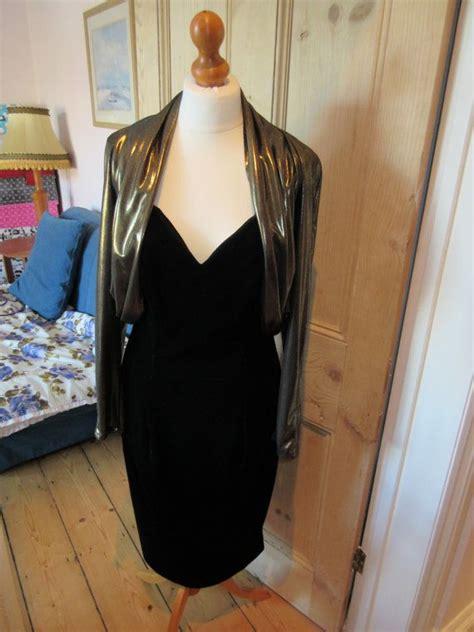 glamorous early  black velvet gold lame austin reed