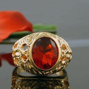 carat gold ep mens simulated oval ruby ring size