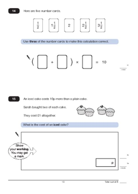 questions 14 and 15 paper a 2010 maths worksheets for ks2