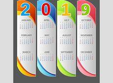 2019 calendario Plantilla Moderna de barras verticales