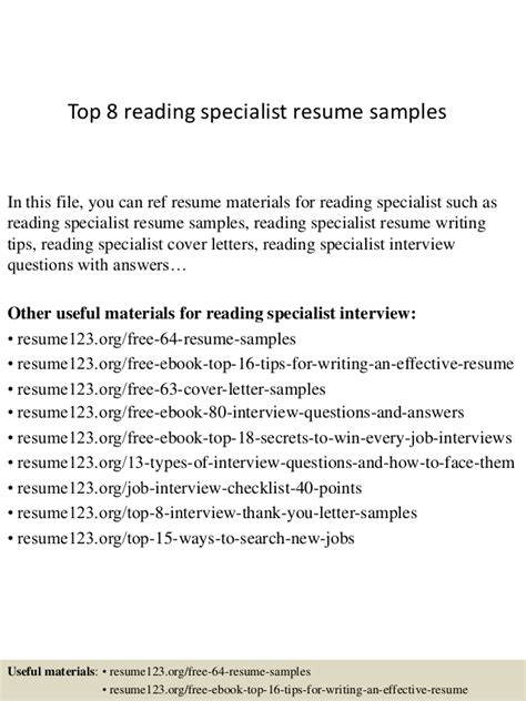 Title 1 Reading Resume by Top 8 Reading Specialist Resume Sles