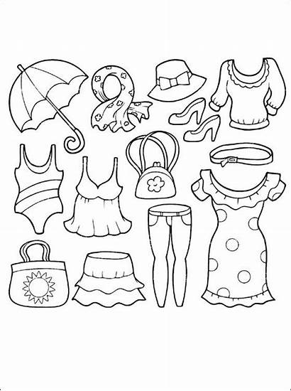 Coloring Pages Summer Clothes Clothing Printable Cool