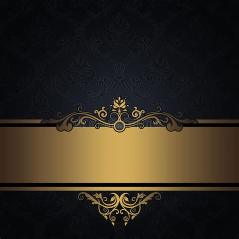 black vintage background  gold border stock