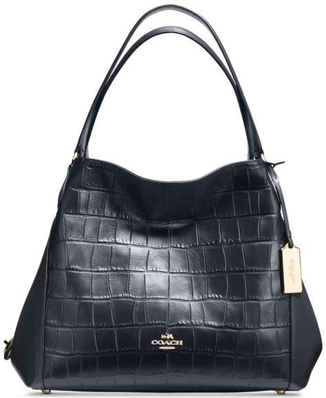 coach edie shoulder bag   croc embossed leather