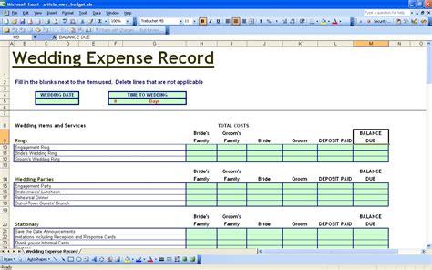 wedding budget template excel 15 useful wedding spreadsheets excel spreadsheet